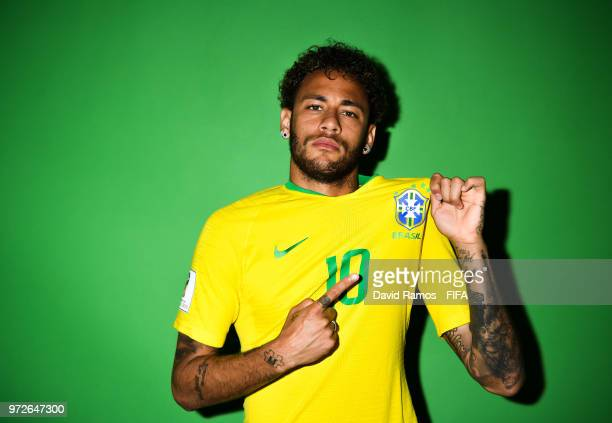 Neymar Jr of Brazil poses during the official FIFA World Cup 2018 portrait session at the Brazil Team Camp on June 12 2018 in Sochi Russia