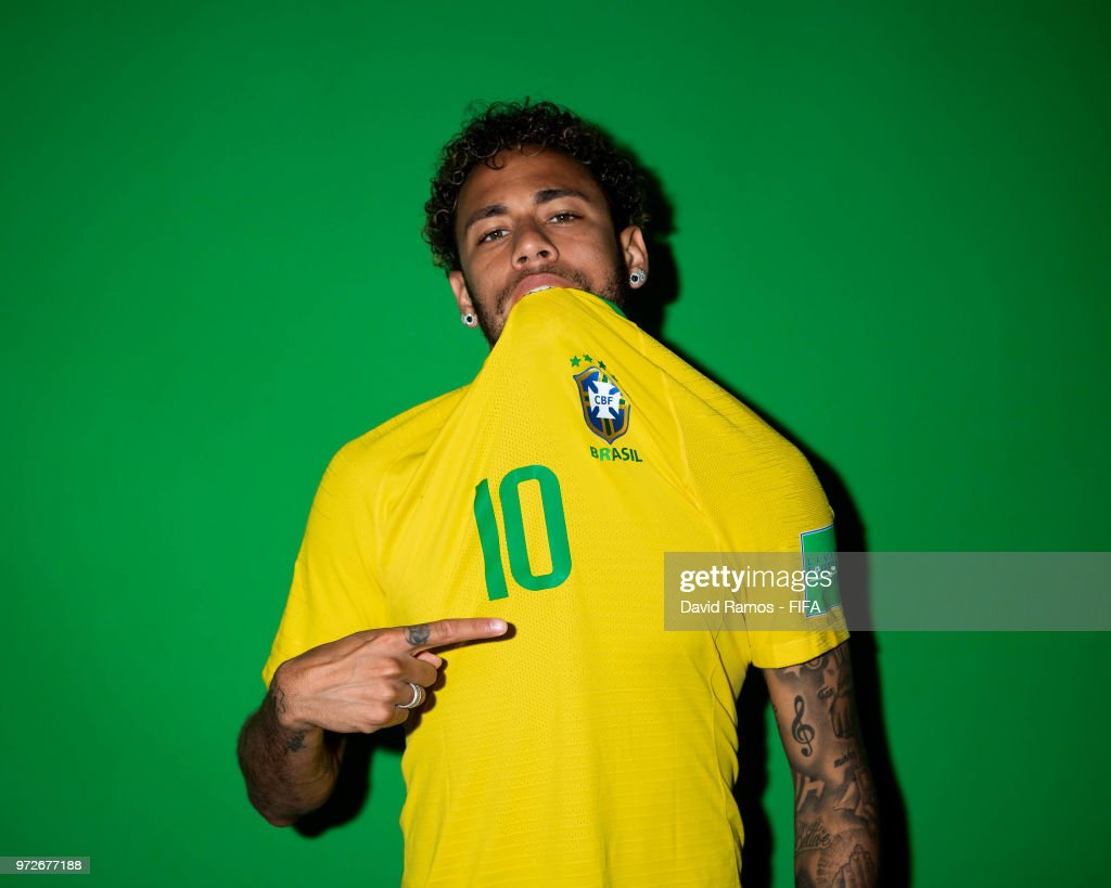 Neymar Jr of Brazil poses during the official FIFA World Cup 2018 portrait session at the Brazil Team Camp on June 12, 2018 in Sochi, Russia.