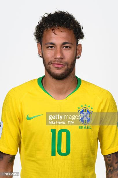 Neymar Jr of Brazil poses for a portrait during the official FIFA World Cup 2018 portrait session at the Brazil Team Camp on June 12 2018 in Sochi...