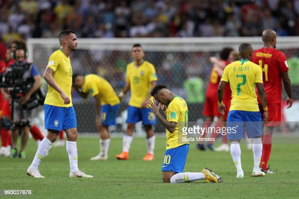 Neymar Jr of Brazil prays following his sides defeat in the 2018 FIFA World Cup Russia Quarter Final match between Brazil and Belgium at Kazan Arena...