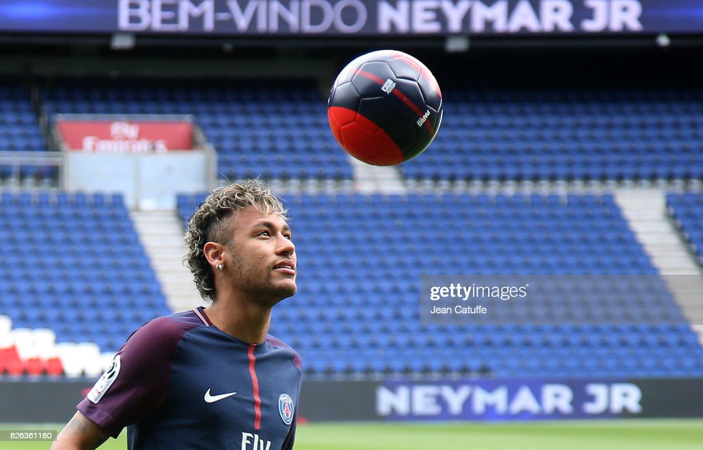 Neymar Jr of Brazil press conference and jersey presentation following his signing as new player of Paris Saint-Germain at Parc des Princes on August 4, 2017 in Paris, France.