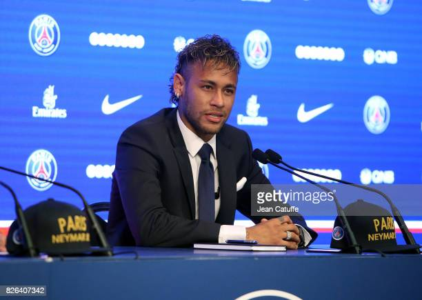 Neymar Jr of Brazil press conference and jersey presentation following his signing as new player of Paris Saint-Germain at Parc des Princes on August...