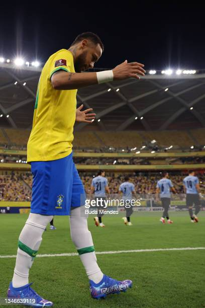 Neymar Jr. Of Brazil reacts as he enter the pitch prior to a match between Brazil and Uruguay as part of South American Qualifiers for Qatar 2022 at...