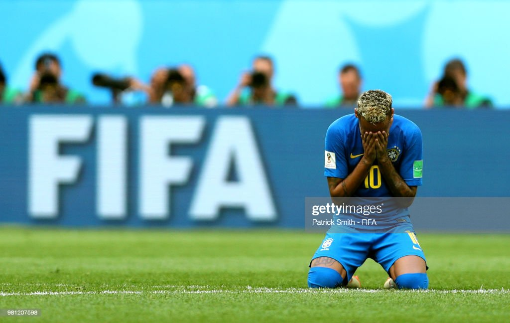 Neymar Jr of Brazil reacts at th end of the 2018 FIFA World Cup Russia group E match between Brazil and Costa Rica at Saint Petersburg Stadium on June 22, 2018 in Saint Petersburg, Russia.