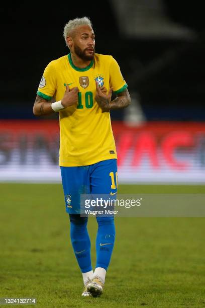 Neymar Jr. Of Brazil reacts during a match between Brazil and Peru as part of Group B of Copa America Brazil 2021 at Estadio Olímpico Nilton Santos...