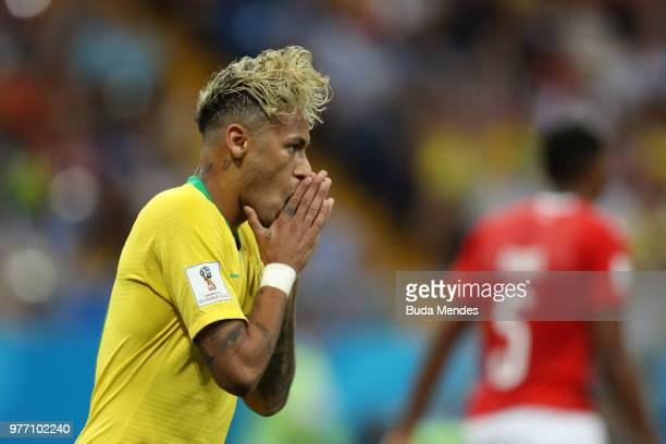 Neymar Jr of Brazil reacts during the 2018 FIFA World Cup Russia group E match between Brazil and Switzerland at Rostov Arena on June 17 2018 in...