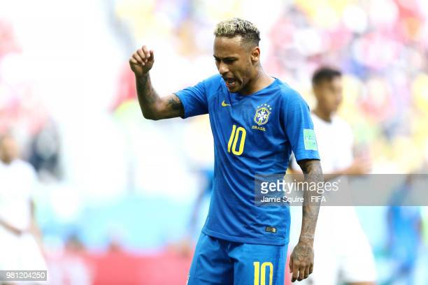 Neymar Jr of Brazil reacts during the 2018 FIFA World Cup Russia group E match between Brazil and Costa Rica at Saint Petersburg Stadium on June 22...