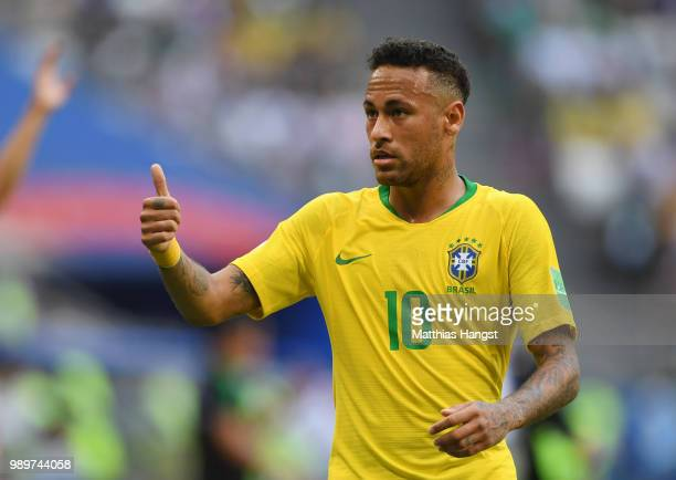 Neymar Jr of Brazil reacts during the 2018 FIFA World Cup Russia Round of 16 match between Brazil and Mexico at Samara Arena on July 2 2018 in Samara...