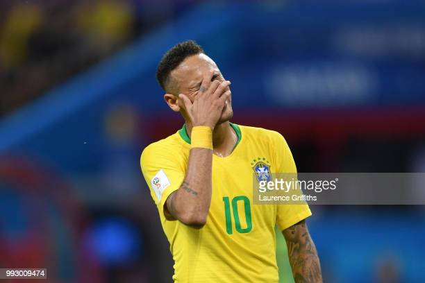Neymar Jr of Brazil reacts during the 2018 FIFA World Cup Russia Quarter Final match between Brazil and Belgium at Kazan Arena on July 6 2018 in...