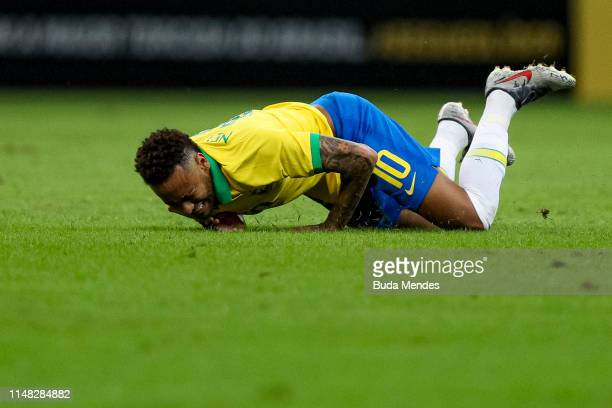 Neymar Jr of Brazil reacts during the International Friendly Match between Brazil and Qatar at Mane Garrincha Stadium on June 5 2019 in Brasilia...