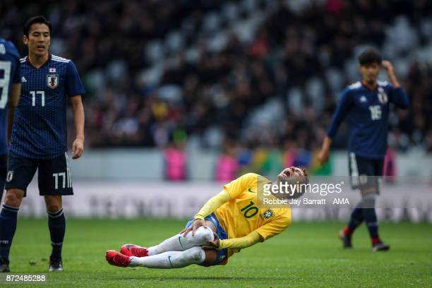 Neymar Jr of Brazil reacts during the international friendly match between Brazil and Japan at Stade Pierre-Mauroy on November 10, 2017 in Lille,...