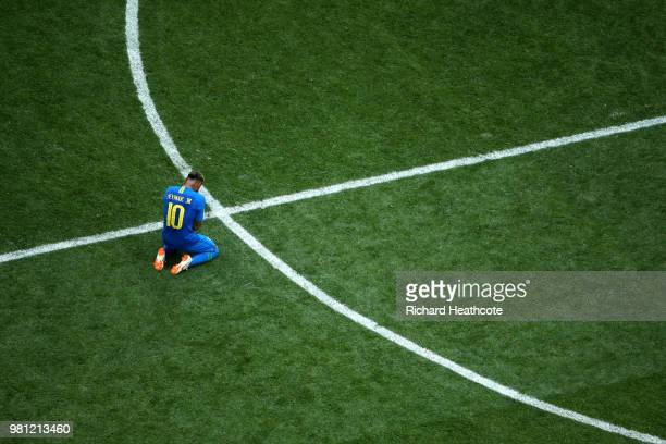 Neymar Jr of Brazil reacts following his sides victory in the 2018 FIFA World Cup Russia group E match between Brazil and Costa Rica at Saint...
