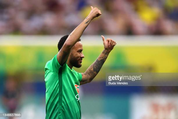 Neymar Jr. Of Brazil reacts to fans during a match between Brazil and Uruguay as part of South American Qualifiers for Qatar 2022 at Arena Amazonia...