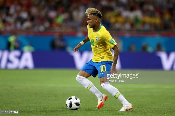 Neymar Jr of Brazil runs with the ball during the 2018 FIFA World Cup Russia group E match between Brazil and Switzerland at Rostov Arena on June 17...