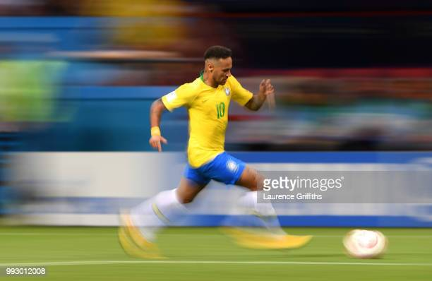 Neymar Jr of Brazil runs with the ball during the 2018 FIFA World Cup Russia Quarter Final match between Brazil and Belgium at Kazan Arena on July 6...