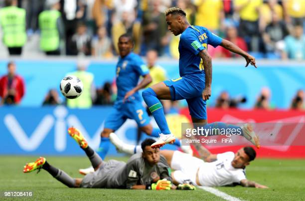 Neymar Jr of Brazil scores his team's second goal during the 2018 FIFA World Cup Russia group E match between Brazil and Costa Rica at Saint...