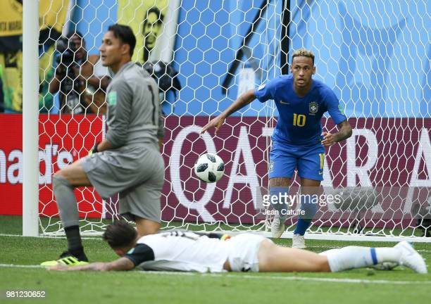 Neymar Jr of Brazil scores the second goal of his team beating goalkeeper of Costa Rica Keylor Navas during the 2018 FIFA World Cup Russia group E...