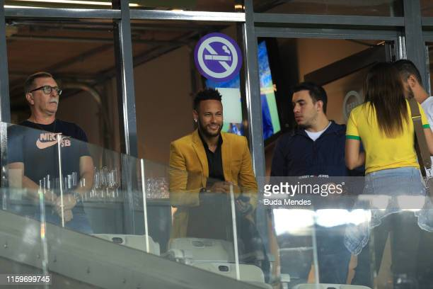 Neymar Jr of Brazil smiles from the stands prior to the Copa America Brazil 2019 Semi Final match between Brazil and Argentina at Mineirao Stadium on...