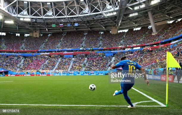 Neymar Jr of Brazil takes a corner during the 2018 FIFA World Cup Russia group E match between Brazil and Costa Rica at Saint Petersburg Stadium on...