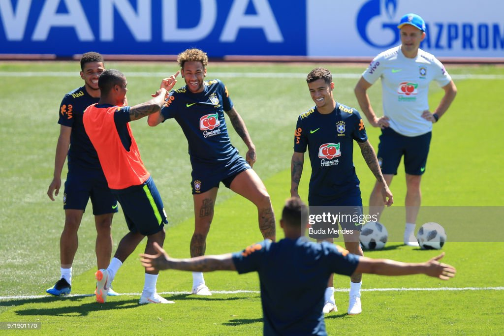 Neymar Jr of Brazil takes part during a Brazil training session ahead of the FIFA World Cup 2018 in Russia at Yug-Sport Stadium on June 12, 2018 in Sochi, Russia.