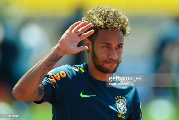 Neymar Jr of Brazil takes part during a Brazil training session ahead of the FIFA World Cup 2018 in Russia at YugSport Stadium on June 12 2018 in...
