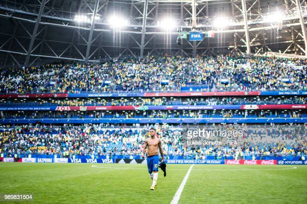 Neymar Jr of Brazil walks off the pitch following the 2018 FIFA World Cup Russia Round of 16 match between Brazil and Mexico at Samara Arena on July...