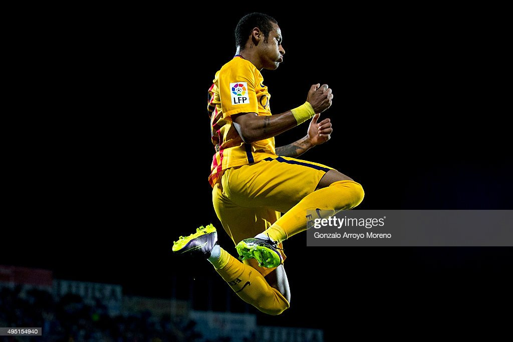 Neymar JR. of FC Barcelona celebrates scoring their second goal during the La Liga match between Getafe CF and FC Barcelona at Coliseum Alfonso Perez on October 31, 2015 in Getafe, Spain.