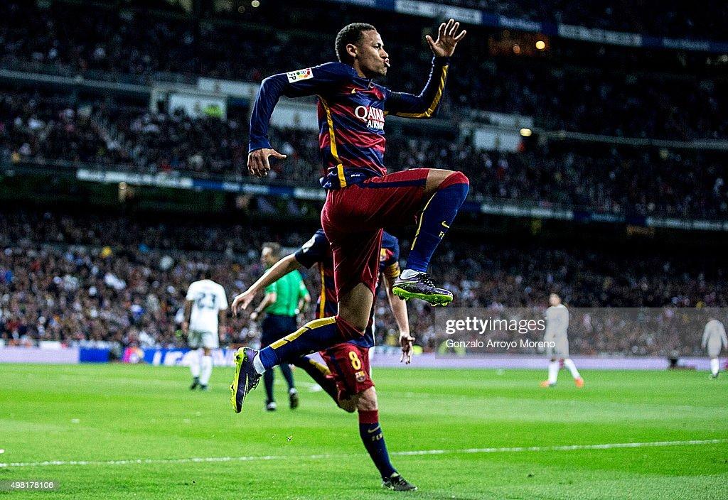 Neymar JR. of FC Barcelona celebrates scoring their second goal during the La Liga match between Real Madrid CF and FC Barcelona at Estadio Santiago Bernabeu on November 21, 2015 in Madrid, Spain.