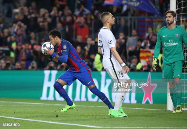 Neymar Jr of FC Barcelona celebrates the 5th goal on a penalty kick while Layvin Kurzawa and goalkeeper of PSG Kevin Trapp look dejected during the...