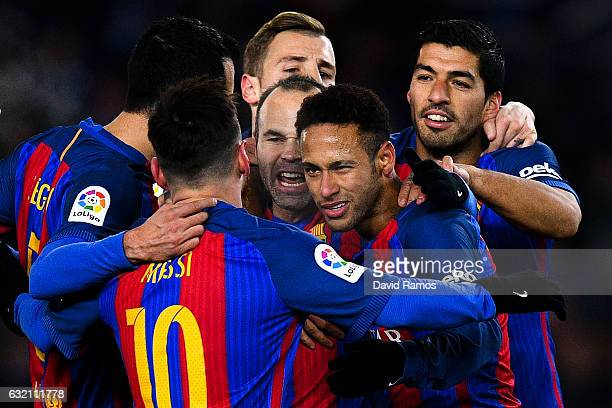 Neymar Jr of FC Barcelona celebrates with his team mates after scoring from the penalty spot his team's first goal during the Copa del Rey...
