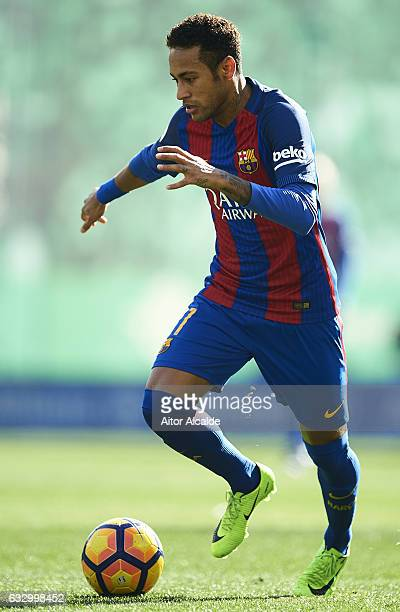 Neymar Jr of FC Barcelona in action during La Liga match between Real Betis Balompie and FC Barcelona at Benito Villamarin Stadium on January 29 2017...