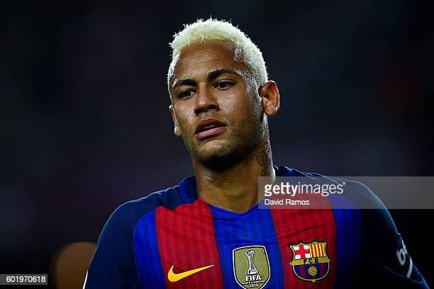 Neymar Jr of FC Barcelona looks on during the La Liga match between FC Barcelona and Deportivo Alaves at Camp Nou stadium on September 10 2016 in...