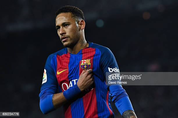 Neymar Jr of FC Barcelona looks on during the La Liga match between FC Barcelona and RCD Espanyol at the Camp Nou stadium on December 18 2016 in...