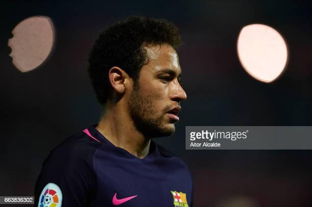 Neymar Jr of FC Barcelona looks on during the La Liga match between Granada CF v FC Barcelona at Estadio Nuevo Los Carmenes on April 02 2017 in...