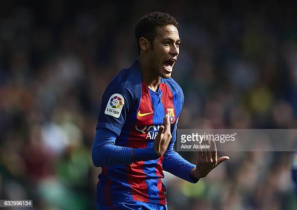Neymar Jr of FC Barcelona reacts during La Liga match between Real Betis Balompie and FC Barcelona at Benito Villamarin Stadium on January 29 2017 in...