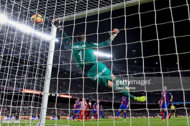 Neymar Jr of FC Barcelona scores his team's fifth goal during the La Liga match between FC Barcelona and Real Sporting de Gijon at Camp Nou stadium...
