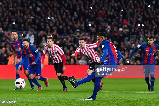 Neymar Jr of FC Barcelona scores his team's second goal from the penalty spot during the Copa del Rey round of 16 second leg match between FC...