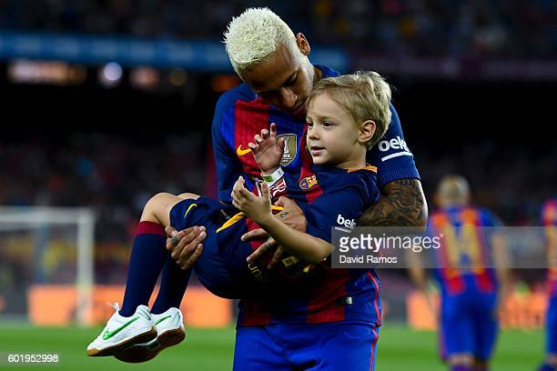 Neymar Jr of FC Barcelona with his son Davi Lucca prior to the La Liga match between FC Barcelona and Deportivo Alaves at Camp Nou stadium on...