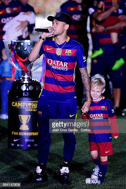 """Neymar Jr. Of F.C.Barcelona, and his son David Lucca, speaking during the Spanish League and """"Copa del Rey"""" trophys celebration, May 23, 2016 in..."""