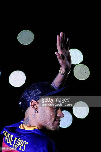 Neymar Jr of FCBarcelona greets the public during the Spanish League and 'Copa del Rey' trophys celebration May 23 2016 in Barcelona Spain