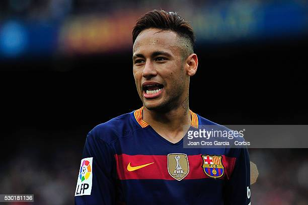 Neymar Jr of FCBarcelona smiling during the FCBarcelona vs RCD Espanyol BBVA Spanish League match 37th season on May 8 2016 in Barcelona Spain