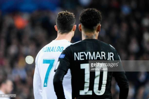 Neymar Jr of Paris Saint Germain and Cristiano Ronaldo of Real Madrid during the Champions League match between Real Madrid and Paris Saint Germain...