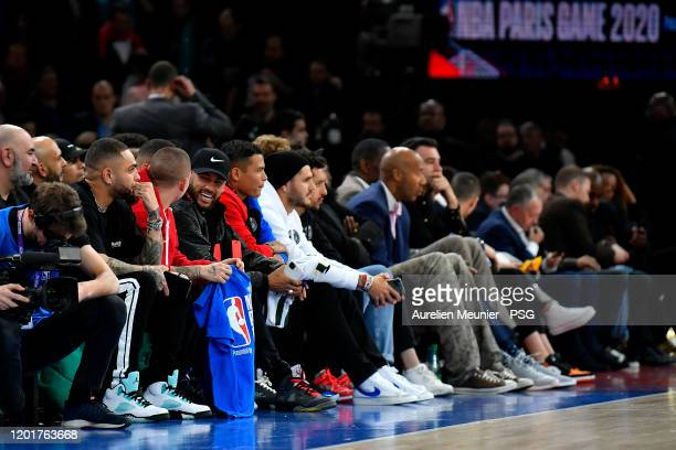 Neymar Jr of Paris Saint Germain attends the NBA match between Milwaukee Bucks and Charlotte Hornets at AccorHotels Arena on January 24 2020 in Paris...