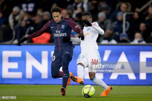 Neymar Jr of Paris Saint Germain Bouna Sarr of Olympique Marseille during the French League 1 match between Paris Saint Germain v Olympique Marseille...
