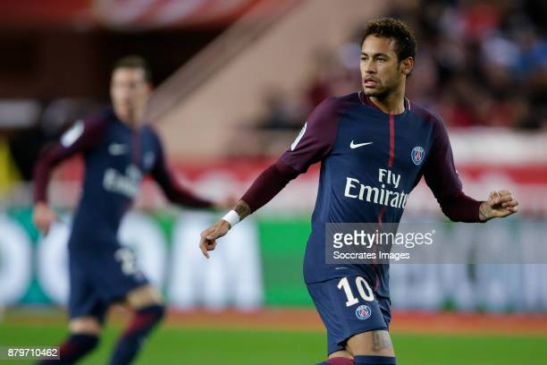 Neymar Jr of Paris Saint Germain during the French League 1 match between AS Monaco v Paris Saint Germain at the Stade Louis II on November 26 2017...