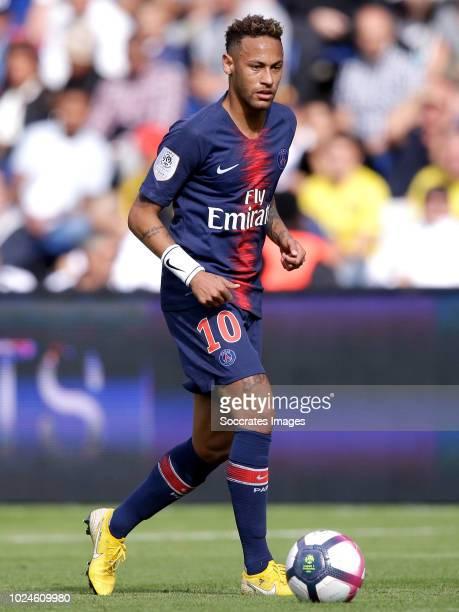 Neymar Jr of Paris Saint Germain during the French League 1 match between Paris Saint Germain v Angers at the Parc des Princes on August 25 2018 in...