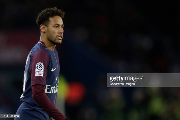 Neymar Jr of Paris Saint Germain during the French League 1 match between Paris Saint Germain v Olympique Marseille at the Parc des Princes on...