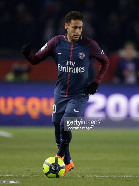 Neymar Jr of Paris Saint Germain during the French League 1 match between Paris Saint Germain v Olympique Marseille at the Parc des Princes on...