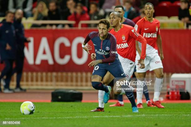 Neymar Jr of Paris Saint Germain Fabinho of AS Monaco during the French League 1 match between AS Monaco v Paris Saint Germain at the Stade Louis II...