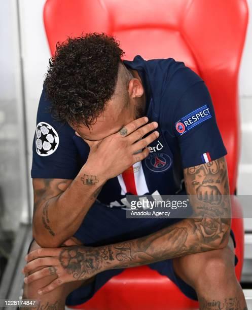 Neymar JR of Paris Saint Germain gets upset at the end of the UEFA Champions League final football match between Paris SaintGermain and Bayern Munich...